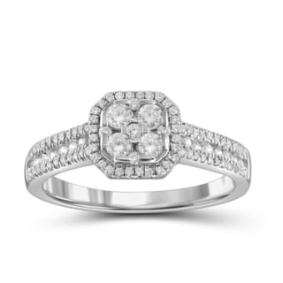 Jewelonfire 10k White or Yellow Gold 1/2ct TDW White Diamond Ring (I-J, I2-I3)