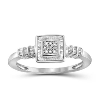Jewelonfire 10k White or Yellow Gold 1/4ct TDW White Diamond Square Ring (I-J, I2-I3)