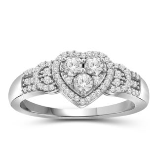 Jewelonfire 10k White or Yellow Gold 1/4ct TDW White Diamond Heart Ring (I-J, I2-I3)