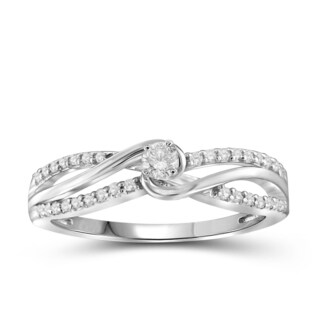 Jewelonfire 10k White or Yellow Gold 1/4ct TDW White Diamond Bridal Ring (More options available)