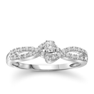 Jewelonfire 10k White or Yellow Gold 1/4ct TDW White Diamond Bridal Ring