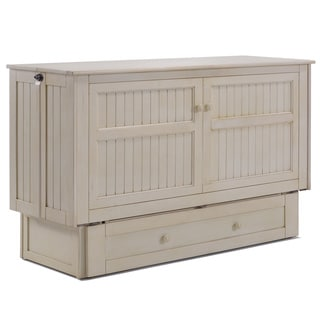 Daisy Cream Finish Murphy Cabinet Bed with Queen-Size Memory Foam Mattress