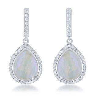 La Preciosa Sterling Silver Mother of Pearl and Cubic Zirconia Teardrop Drop Earrings