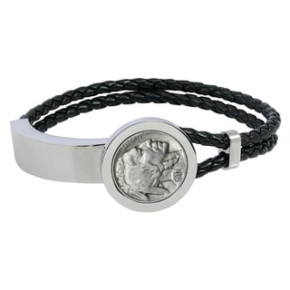 Men's Stainless Steel and Leather Buffalo Nickel Bracelet