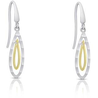 Dolce Giavonna 14k White and Yellow Gold Dangle Earrings