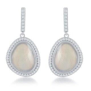 La Preciosa Sterling Silver Mother of Pearl and Cubic Zirconia Drop Earrings