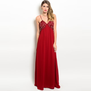 Women's Elegant Spaghetti-Strap Evening Gown w/ Embellished Bodice