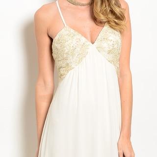 Women's Elegant Spaghetti-Strap Evening Gown w/ Embellished Bodice