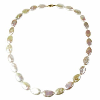 14k Gold and Oval Coin Pearl Necklace