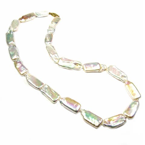 14k Gold and AA Log Pearl Necklace - White