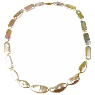 14k Yellow Gold and AA Log/Coin Pearl Necklace