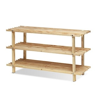 Porch & Den Loridans Pine Solid Wood 3-tier Shoe Rack