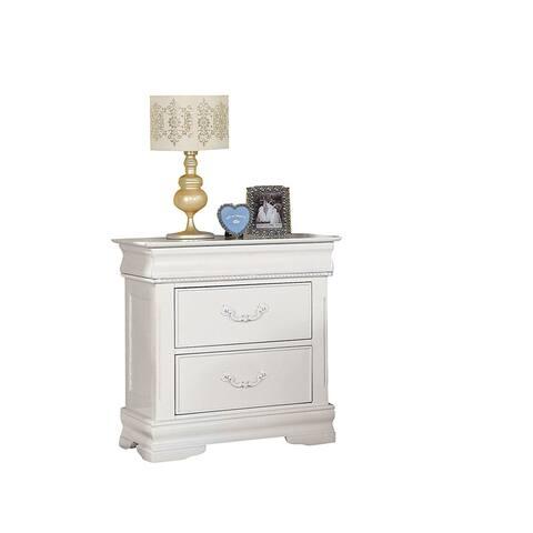 Nightstand with Hidden Drawer, White