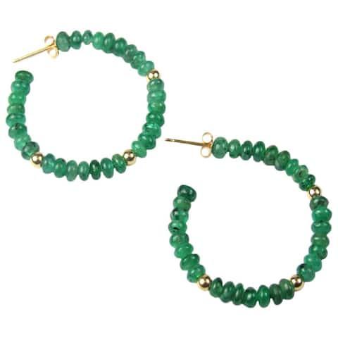Pearl Lustre 14k Yellow Gold Emerald Hoop Earrings - Green