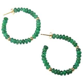Pearl Lustre 14k Yellow Gold Emerald Hoop Earrings