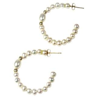 Pearl Lustre 14k Yellow Gold Genuine Freshwater Pearl Hoop Earrings (4 mm)