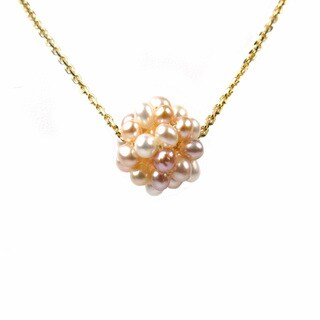 Goldtone Sterling Silver and Freshwater Pearl Cluster Pendant Necklace