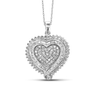 Jewelonfire 10k White or Yellow Gold 1ct TDW White Diamond Heart Pendant (I-J, I2-I3)