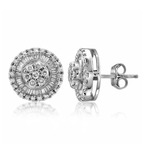 Jewelonfire 10 k Gold 1/2ct White Diamond Cluster Earring