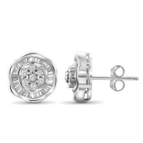 Jewelonfire 10 k Gold 1/2ct TDW White Diamond Flower Earring