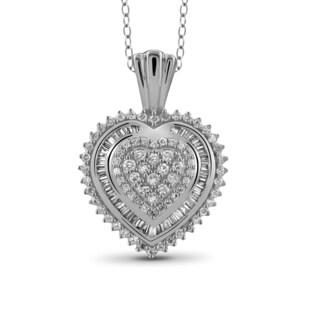Jewelonfire 10k White or Yellow Gold 1/2ct TDW White Diamond Heart Pendant (I-J, I2-I3)
