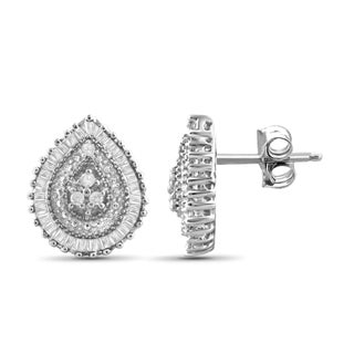 Jewelonfire 10k White or Yellow Gold 1/4ct TDW White Diamond Tear Drop Earring (2 options available)