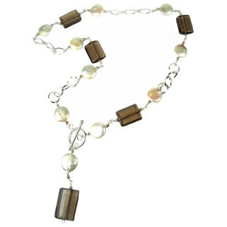Coin Pearls and Smokey Quartz Sterling Silver and 14k Gold Necklace