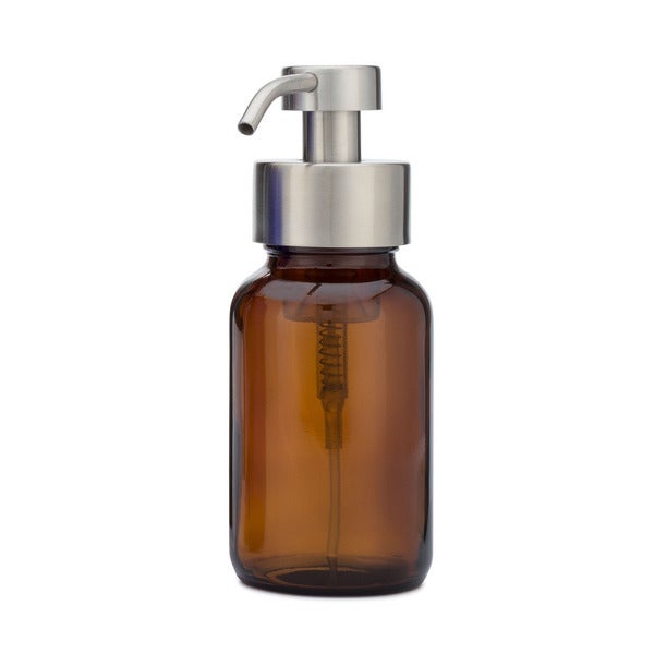 RAIL19 Amber Glass Apothecary Foaming Soap Dispenser Metal Pump with Stainless Finish