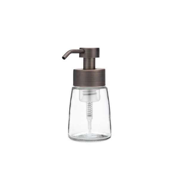 RAIL19 Small Glass Foaming Soap Dispenser w/ Metal Pump - Bronze