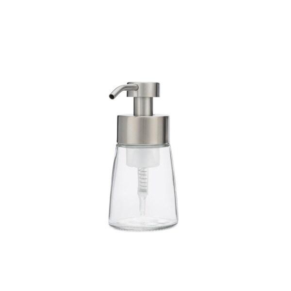 RAIL19 Small Glass Foaming Soap Dispenser w/ Metal Pump - Stainless