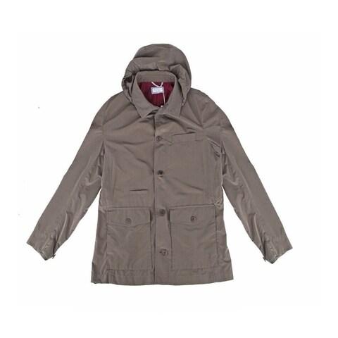 Brunello Cucinelli Taupe Rain Coat w/ Removable Hood
