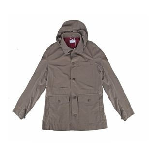 Brunello Cucinelli Taupe Rain Coat w/ Removable Hood