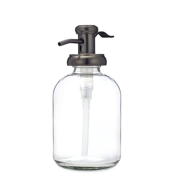 RAIL19 Bell Glass Soap Dispenser with Antique Bronze Pump