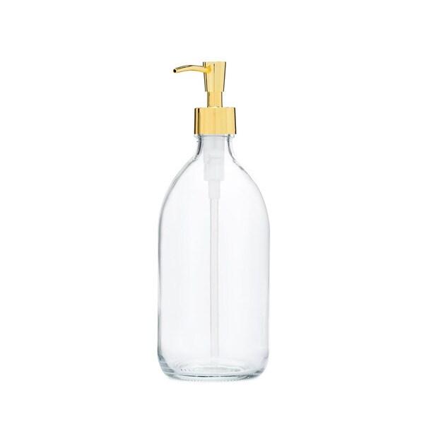 RAIL19 Savon Glass Soap Dispenser w/ Gold Pump