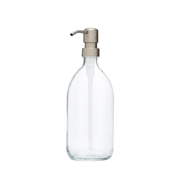 RAIL19 Savon Glass Soap Dispenser w/ Farmhouse Stainless Pump