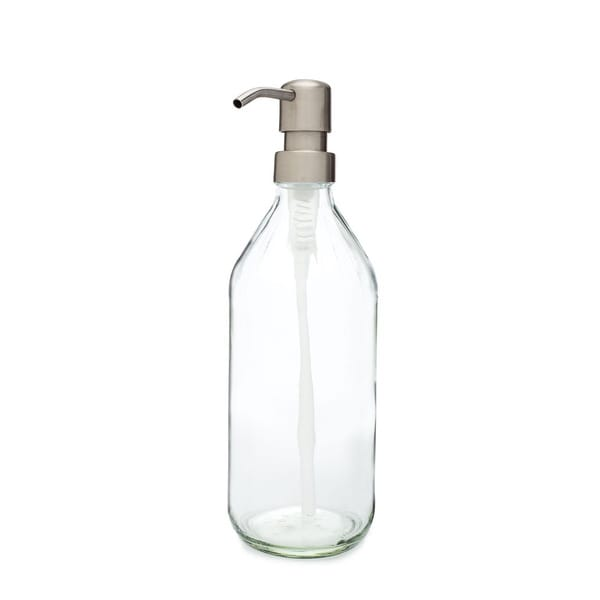 RAIL19 Vintage Inspired Glass Soap Dispenser w/ Farmhouse Stainless Pump