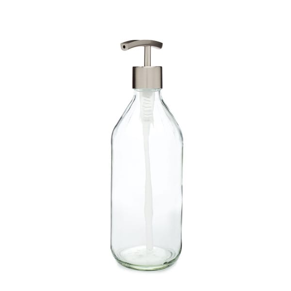 RAIL19 Vintage Inspired Glass Soap Dispenser w/ Stainless Modern Pump