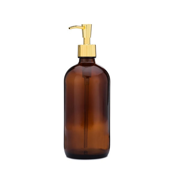 RAIL19 Market Amber Glass Soap Dispenser w/ Gold Pump