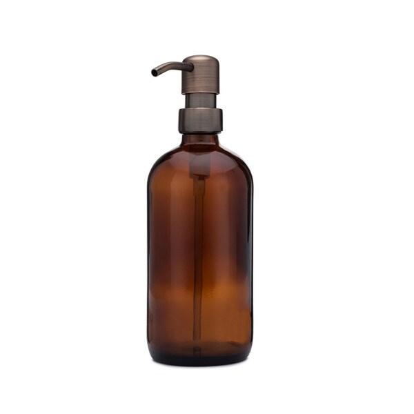 RAIL19 Market Amber Glass Soap Dispenser w/ Farmhouse Bronze Pump