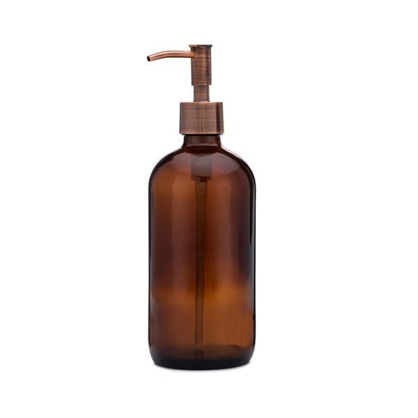 RAIL19 Market Amber Glass Soap Dispenser w/ Copper Rustic Pump
