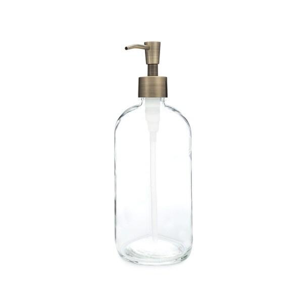 RAIL19 Market Glass Soap Dispenser w/ Brass Pump