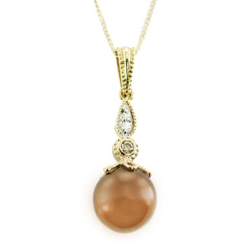 One-of-a-kind Gems en Vogue 14K Chocolate Pearl and Diamond Pendant
