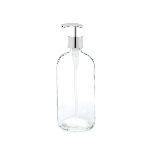 RAIL19 Market Glass Soap Dispenser w/ Chrome Modern Pump
