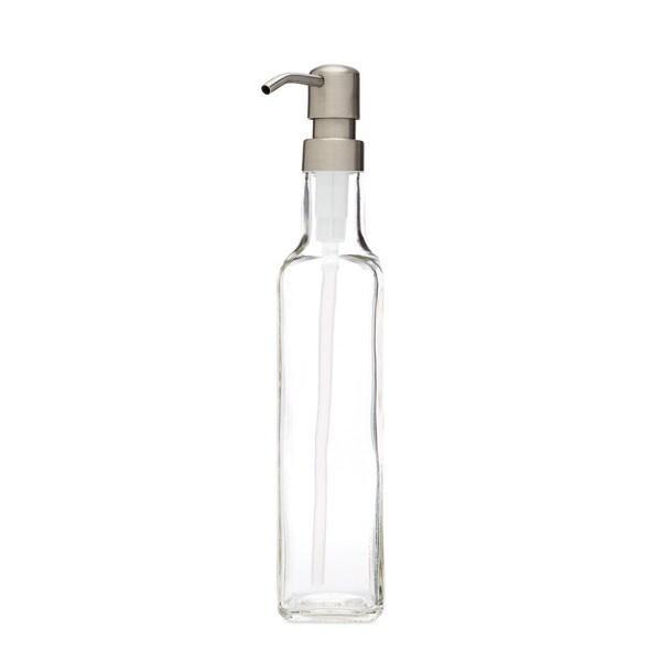 RAIL19 French Vessel Glass Soap Dispenser w/ Farmhouse Stainless Pump
