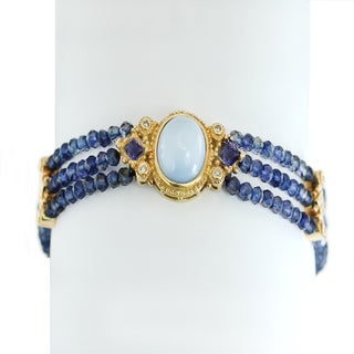 One-of-a-kind Michael Valitutti 14K Blue Opal, Lolite and Diamond Multi Strand Bracelet