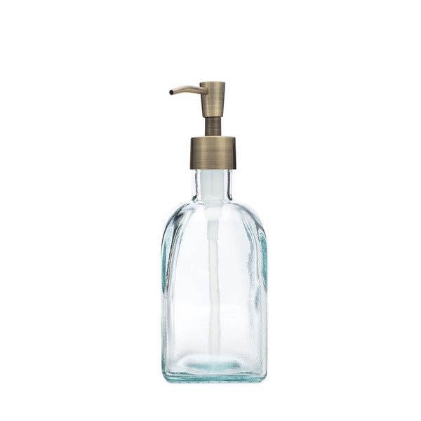 RAIL19 Bungalow Recycled Glass Soap Dispenser w/ Brass Pump