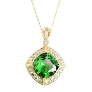 One-of-a-kind Michael Valitutti 14K Chrome Diopside, Green Sapphire and Diamond Pendant