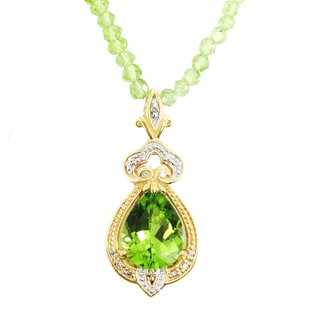 One-of-a-kind Michael Valitutti 14K Peridot and Diamond Bead Necklace