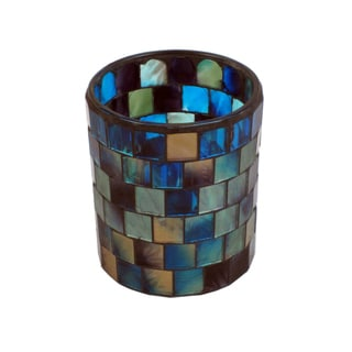 Blue, Sky Blue, and Beige Glass Mosaic Candleholder