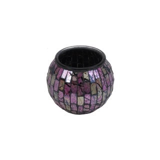 Pink and Cream Glass Mosaic Candle Holder